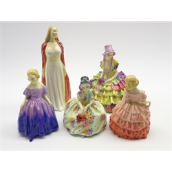 Royal Doulton figure 'Collinette' HN1999, another 'Monica' HN1458, another 'Marie' HN1370, another 'Rose' HN1368 and another 'Chloe' HN1470 (5)