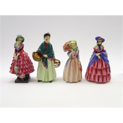 Royal Doulton figure 'The Orange Lady' HN1953, another 'A Victorian Lady' HN728, another 'Priscilla' HN1340, and another 'Miss Demure' HN1402 (4)