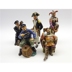 Royal Doulton figure 'The Jester' HN2016, another 'The Captain' HN2260, another 'Shore Leave' HN2254, another 'The Lobster Man' HN2317 and another 'The Foaming Quart' HN2162 (5)