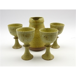 David Llloyd Jones (1928-1994) studio pottery jug H20cm and four goblets, impressed and pad marks