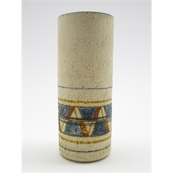 Troika pottery cylindrical vase by Annette Walters with geometric design in blue and brown on a beige ground H14cm