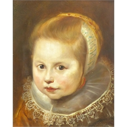 Follower of Cornelis De Vos (Flemish 1584-1651): Portrait of a Young Girl, member of the Van Houten family, oil on panel bears signature 33cm x 25cm
