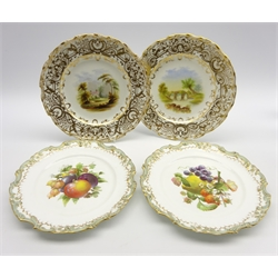 Pair of 19th Century porcelain plates painted with landscape panels within heavily gilded border Pattern No 832 D23cm and another pair of 19th Century plates painted with fruit within moulded gilt borders D23cm probably Coalport