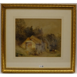 William Evans of Eton (British 1798-1877): Horse and Cart Beside a Cottage, watercolour unsigned 32cm x 38cm