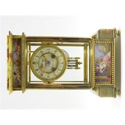 Late 19th century onyx and gilt metal four glass mantel clock, Sevres hand painted porcelain panels depicting urn with putti and maiden, both signed Poitevin, circular enamel Arabic dial, twin train 8-day movement striking the hours and half on coil, mercury pendulum, movement back plate stamped 'Marque Deposer' '3625 41', H33cm, W21cm, D13cm