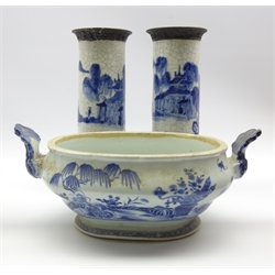 Effra Chinese export oval tureen decorated in blue and white with vases, tree and fence pattern with fan shape handles and Reign mark to base W36cm overall and a pair of Chinese cylindrical crackle ware vases H31cm