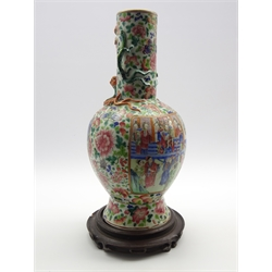 19th Century Cantonese baluster vase with panels of figures and landscapes with applied lizard handles H44cm