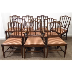 Set ten (eight + two) Georgian style mahogany dining chairs, shaped moulded cresting rail over four floral carved and reeded splats, drop in seat pads, square tapered moulded supports, W58cm (max)
