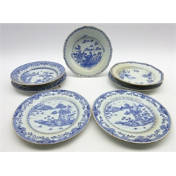 Pair of 18th Century Nankin plates decorated in blue and white with vases, flowers etc D23cm, another pair with a river landscape and 3 other Nankin blue and white plates (7)