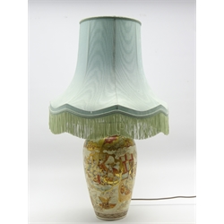 Japanese vase column table lamp decorated with panels of figures in orange and gilt and with fringed shade H32cm excluding shade
