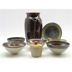 Barbara Cass (1921-1992) 4 studio pottery bowls, impressed 'Arden' D13cm, Mick Arnup bowl, Muchelney preserve jar and 2 other items