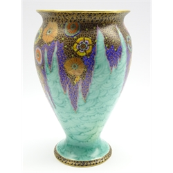 Fieldings Crown Devon 'Mattajade' vase with stylised flowers and foliage on a turquoise ground Pattern 2320 H26cm