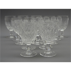 Six Waterford 'Colleen' pattern sherry glasses, 5 matching port glasses and 5 small wine glasses (16)