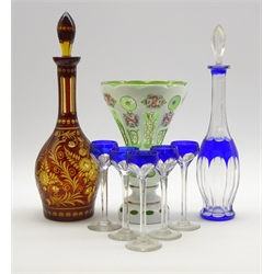 Effra Bohemian overlaid glass baluster vase decorated with floral sprays H23cm, overlaid glass decanter and a  blue overlaid liqueur decanter and 5 glasses
