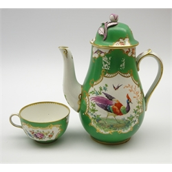 Samson of Paris chocolate pot and cover decorated with panels of birds and flowers on a green ground and with floral lift H20cm and a matching cup