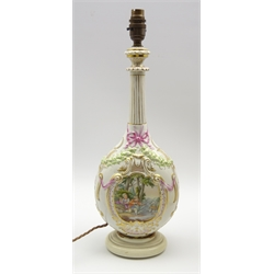 Berlin porcelain table lamp decorated with panels of figures within gilded cartouches and with fluted neck H40cm