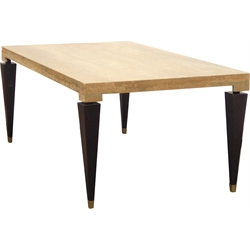Modern Italian made marble dining table by Stone International, rectangular top raised on square tapering walnut supports, terminating in brass cups, 200cm x 106cm, H76cm