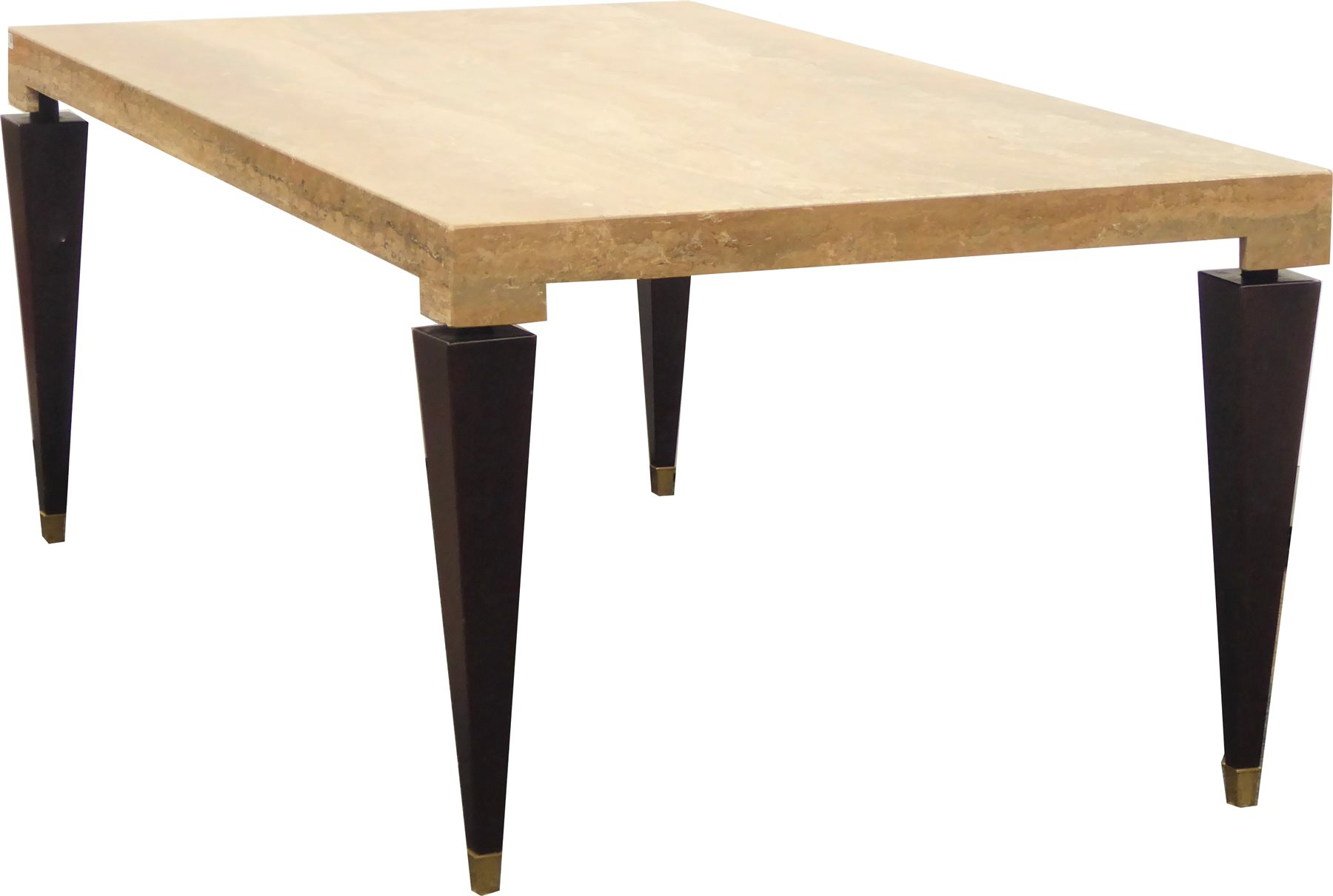 Modern Italian Made Marble Dining Table By Stone International Rectangular Top Raised On Square Tapering Walnut Supports Terminating In Brass Cups 200cm X 106cm H76cm Antiques Fine Art Interiors