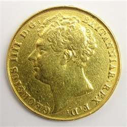 George IV 1823 gold double sovereign, previously mounted as a pendant