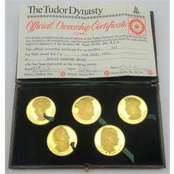 Danbury Mint cased set of five 22ct gold proof medallions, 'The Tudor Dynasty' cased with certificate, limited edition number 117/150