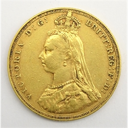 Queen Victoria 1887 gold full sovereign, Melbourne mint mark