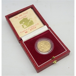Queen Elizabeth II 1988 gold proof full sovereign, cased with certificate