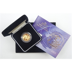 Queen Elizabeth II 2003 gold proof full sovereign, cased with certificate