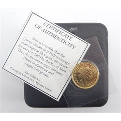 Queen Elizabeth II 2005 gold half sovereign, cased with a 'certificate of authenticity'