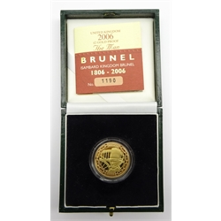 Royal Mint 2006 gold proof two pound coin, 'Isambard Kingdom Brunel', cased with certificate