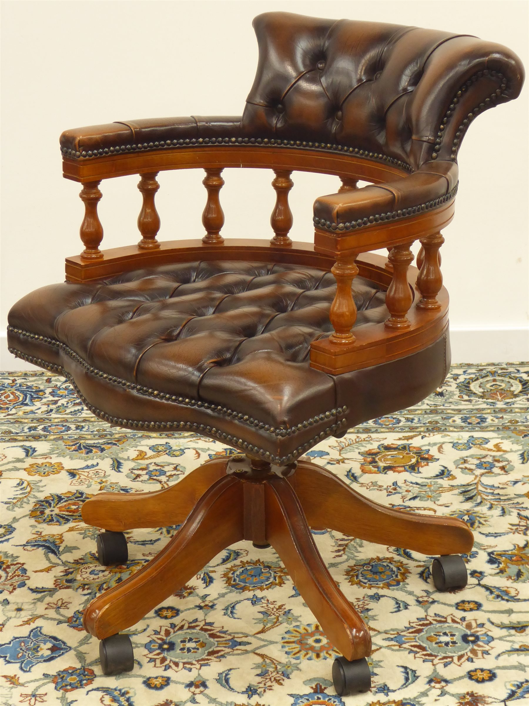 Fantastic Reproduction Walnut Framed Swivel And Reclining Captains Uwap Interior Chair Design Uwaporg