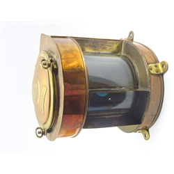 Ship's copper and brass trawling light, bears label 'Richard Irvin & Sons Ltd. Ship Store Merchants Lamp Manufacturers etc Aberdeen and North Shields No.2329,' of bow fronted form with hinged lid and removable blue and red filters, electrically powered, H40cm