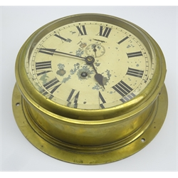 Ship's brass cased bulkhead clock, Smiths Astral, the unmarked painted 20cm dial with Roman numerals and subsidiary seconds dial, reputedly removed from Pladda Lighthouse on the Isle of Arran 1933, impressed to the back 'G.B. & E. Ltd 1928 G.R.V.' above a crown D27cm