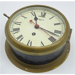 Smiths ship's brass cased bulkhead clock, the painted 16cm dial with Roman numerals and centre sweep seconds hand, inscribed 'Smith 8 Day', D22cm