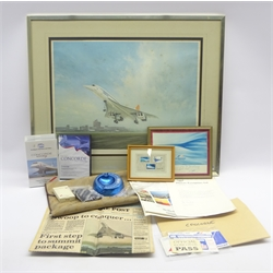 After Gerald Coulson, colour print of Concorde taking off, signed on the mount by the artist and test pilot Brian Trubshaw 47 x 61cm, gold metal frame and quantity of Concorde ephemera including ticket, passes, pin badges, neck tie, promotional items, stamps and postcards, DVD and video tapes etc