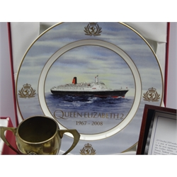 Shipping line memorabilia - thirteen bullion cap badges for various companies, quantity of buttons and flag brooches, seven souvenir spoons, plated ware, limited edition QEII ceramics, boxed Trafalgar bicentenary pewter tankard etc