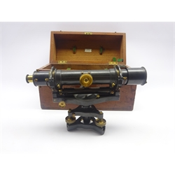 Late 19th/early 20th century lacquered brass theodolite by A.G.Thornton Ltd. Paragon Works, Manchester, serial no.834, in fitted mahogany box with maker's overhaul label dated 1931 and key in envelope