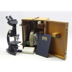 Mid-20th century electric monocular microscope by Vickers Instruments No.M14/2 patent 877813 in wooden case with accessories and instruction booklet; and Cooke Troughton & Simms binocular microscope No.M101773, with associated book
