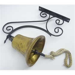 19th century ship's bell inscribed 'Amelia 1871' built by Bowdler, Chaffer & Co Builders Liverpool H16cm with later wrought iron hanging bracket