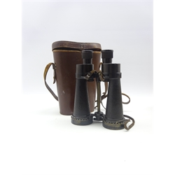 Pair WW2 British Royal Naval Barr & Stroud anti-flash binoculars marked 7x C.F.41 A.P. 1900A Serial no. 27356, with neck strap in leather carrying case