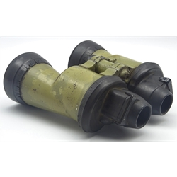 Pair of Zeiss (blc) WW2 Kriegsmarine U-Boat 7 x 50 binoculars with green painted body and rubber armour to lens, serial no.55818