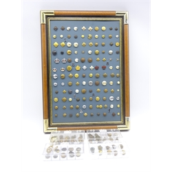 Framed display of over one hundred and twenty military and livery buttons and quantity of loose buttons, including East Yorkshire volunteers, WW1 Belgian Victory medal Royal Artillery, Royal Corps of Signals, UDR, Royal Marines etc