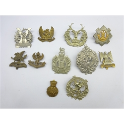 Five Scottish Glengarry badges and six cap badges including Argyll & Sutherland, Tyneside Scottish, Gordon Highlanders, Lanarkshire Yeomanry, Lothian & Borders Horse etc, all thought to be restrikes