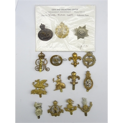 Fifteen cap badges including Liverpool Pals, Army Cyclists Corps, LRDG, Royal Naval Air Service, RFC etc, all thought to be restrikes