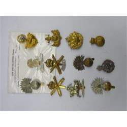 Twelve cap badges including Lancashire Fusiliers, HAC, Machine Gun Corps, Queens Own Worcestershire Hussars etc, all thought to be restrikes