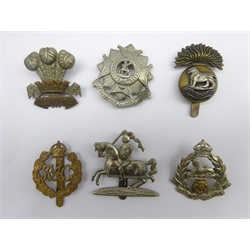 Six cap badges - Royal Munster Fusiliers, Beds & Herts Regiment, Leinster Regiment, East Lancashire, RAC etc