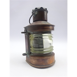 Ship's copper masthead lamp with remains of early electrical fitting H24cm excluding swing handle