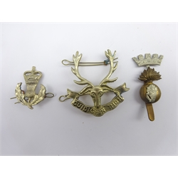 Two cap badges - 2-piece 3rd Battalion Queens Own Highlanders and Royal Irish Fusiliers