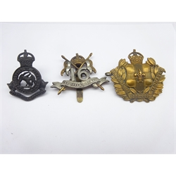 Three cavalry cap badges - Lincolnshire Yeomanry, Royal Bucks Hussars and 16th Lancers