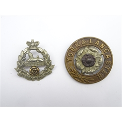 East Lancashire Regiment cap badge and helmet plate centre for York and Lancaster Regiment