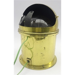 Ship's brass dome topped binnacle of cylindrical form with electrically lit gimbal mounted compass and revolving cover No.B1698 H26cm